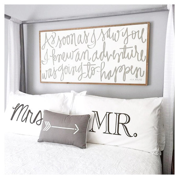 2 year anniversary gift idea - Mr. and Mrs. pillowcases! So cute!