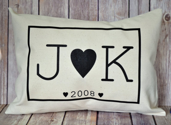 Personalized cotton pillow - such a cute 2 year anniversary gift idea!