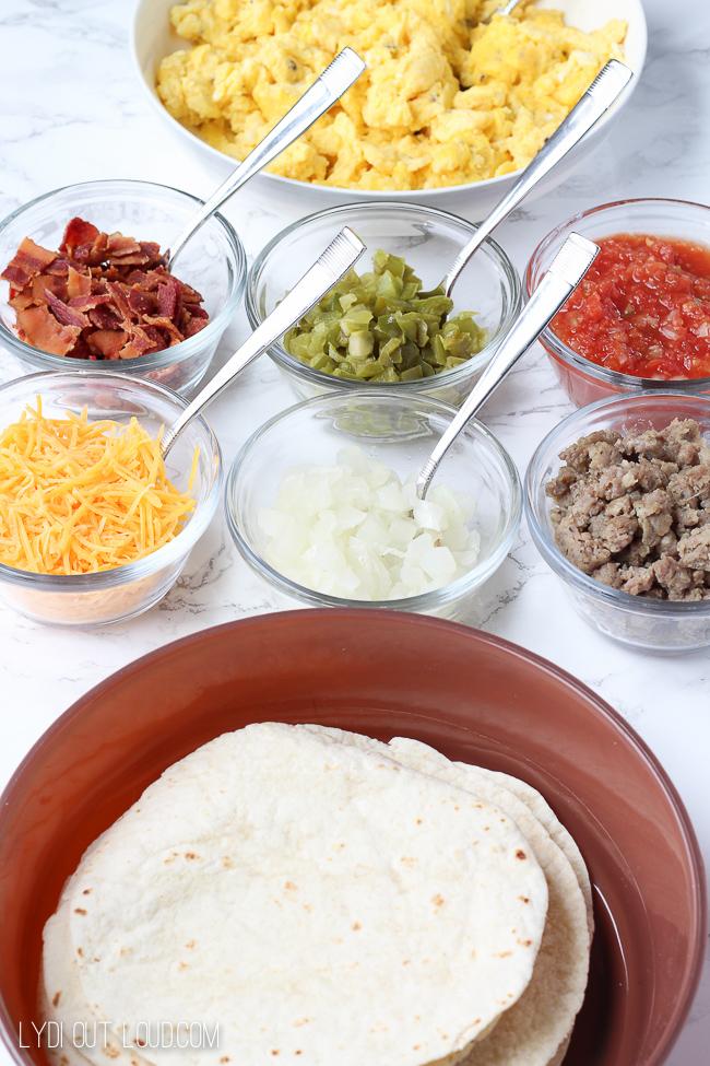 Breakfast taco bar - or as I call it Brinner!