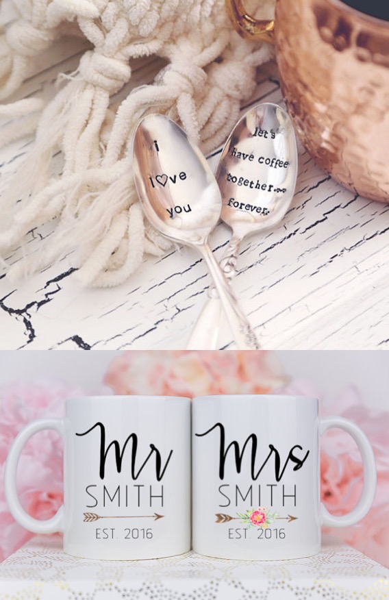 These mugs and spoons would be such a cute wedding gift - toss in a bag of coffee for the perfect gift basket!