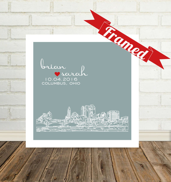 Personalized framed skyline art - what a perfect wedding gift or anniversary gift!