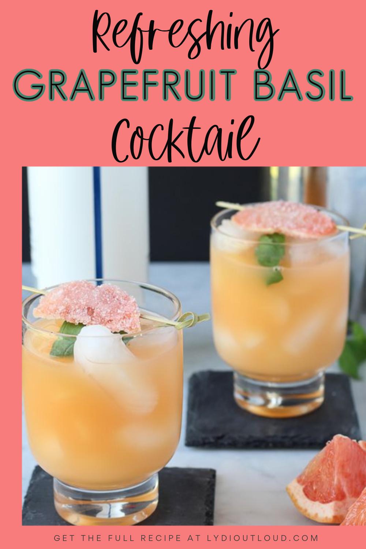 Refreshing Grapefruit Basil Cocktail via @lydioutloud