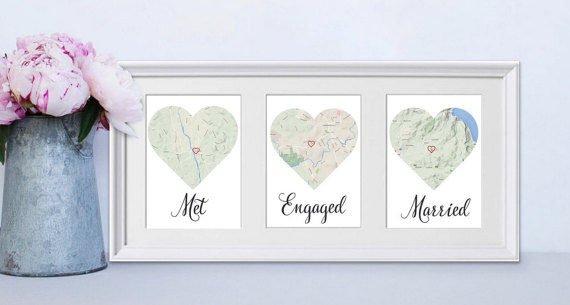 Map hearts of where the couple met, got engaged and married - what a sweet wedding gift idea!