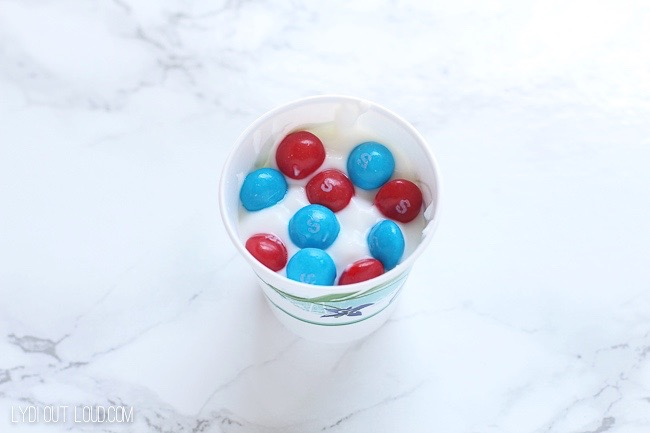 Red, white and blue Skittles yogurt pops