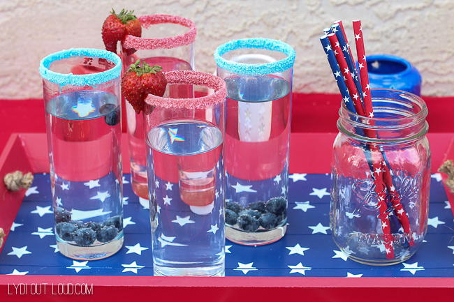 Refreshing fruit infused waters with a tasty candy rim!