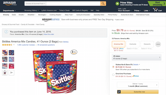 Order red white & blue skittles from Amazon Prime