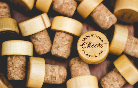 How cute! Personalized wine stoppers for wedding favors!