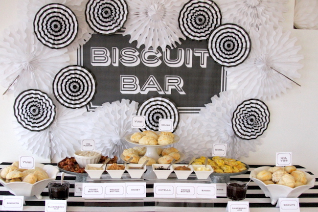 A food bar with biscuits - this is such a great idea!
