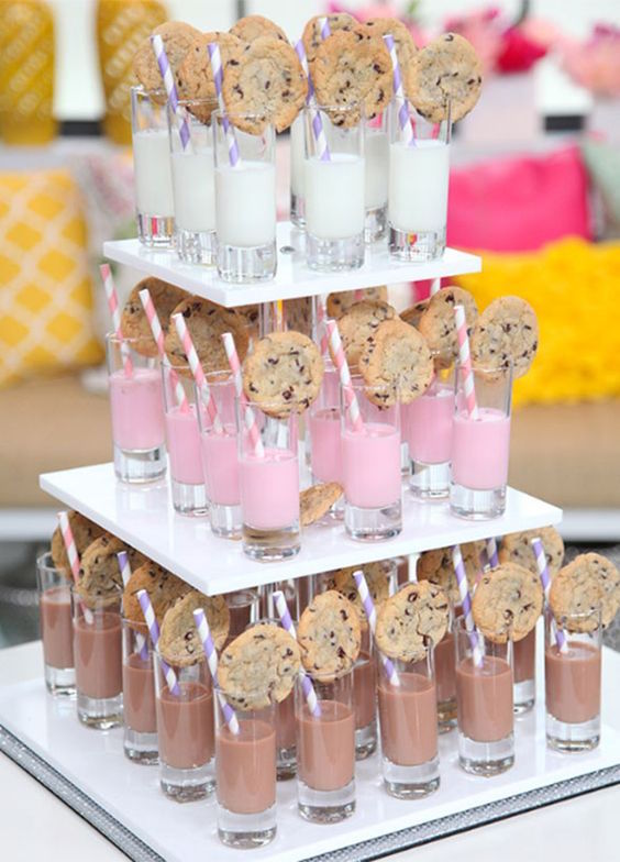 A milk & cookies bar is a great wedding reception idea or even for a kid's birthday party.