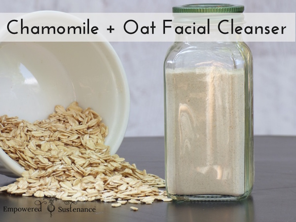 Soothing Chamomile & Oat Facial Cleanser both cleans and provides a gentle skin exfoliation.