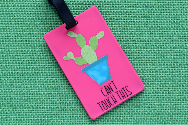 Can't Touch This Cactus DIY Luggage Tag