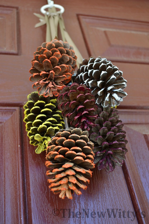 Painted Pinecone Door Hanger for fall - what a great idea!