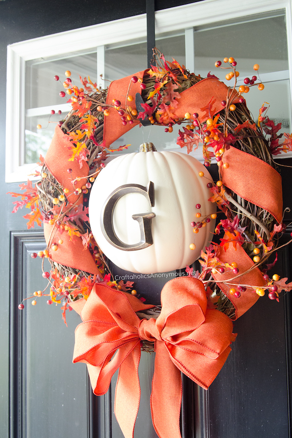 Pumpkin Monogram Wreath