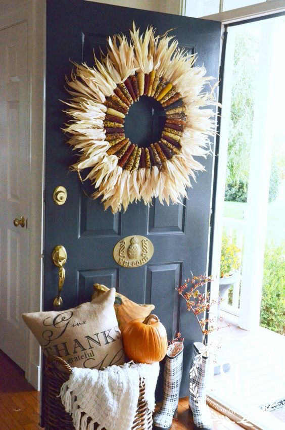 What a great idea for fall decor! An Indian Corn wreath!