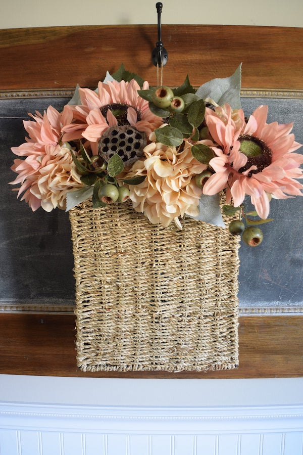 Fall sunflower and hydrangea basket door hanging