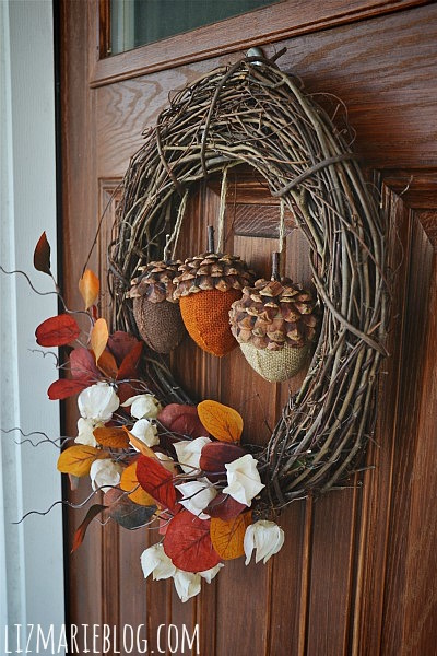 I love this fall acorn DIY wreath from Liz Marie Blog! So unique!
