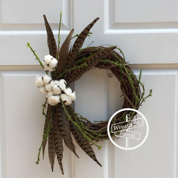 Pheasant and Cotton Fall Wreath