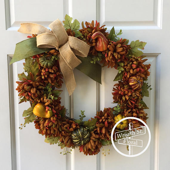 Pumpkin and Gourd Floral Fall Wreath