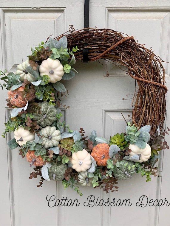 Pumpkin and Succulent Wreath