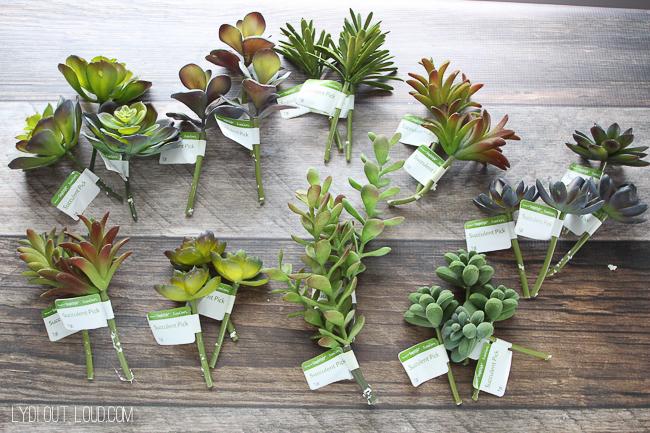 Faux succulents for succulent monogram planter