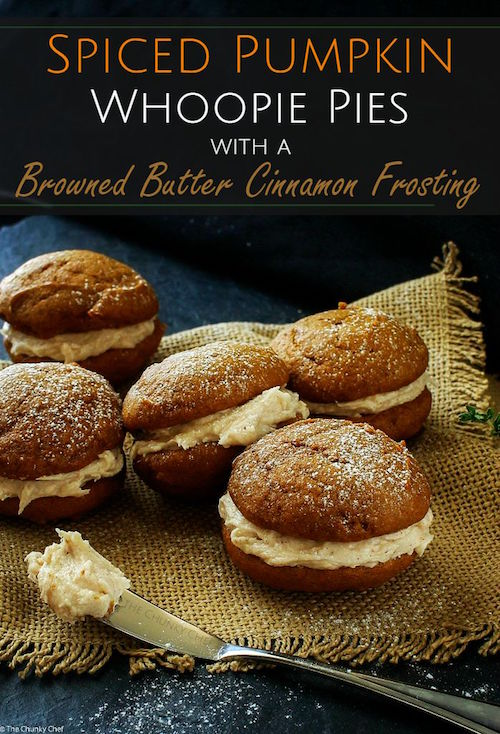 Spiced Pumpkin Whoopie Pies with Maple Brown Sugar Cinnamon Frosting - so much yum in one bite!