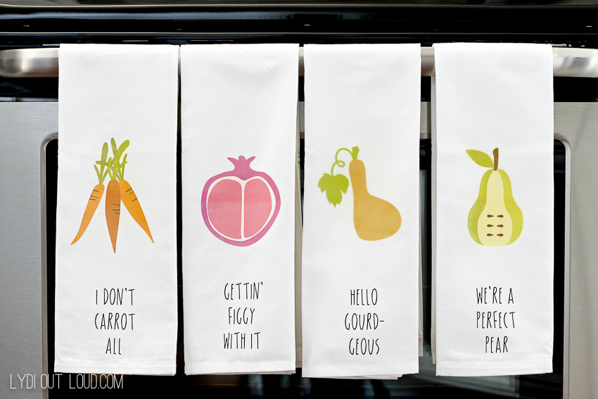 DIY Pun Kitchen Towels - these are so stinking cute!
