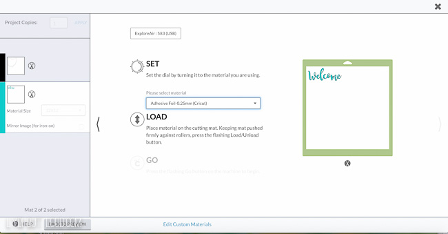 Custom setting for Cricut machine