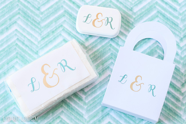 Monogram favors for wedding hotel guests.