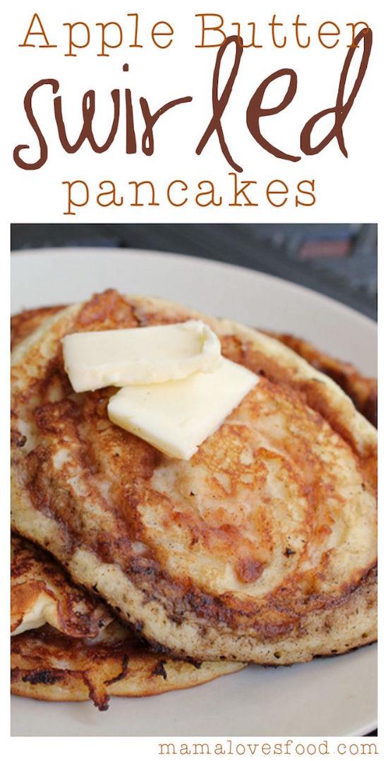 Apple Butter Swirled Pancakes