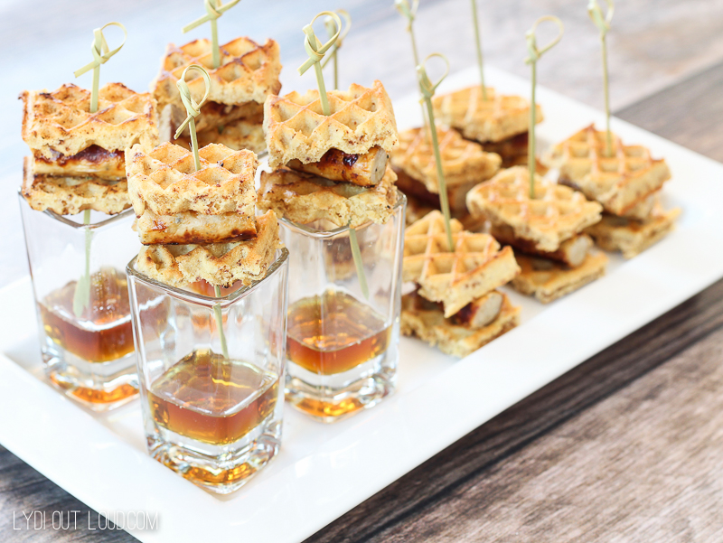 A delicious and healthier take on chicken and waffles - love this appetizer recipe!