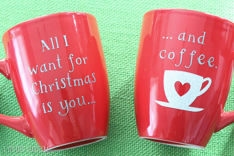 These DIY Christmas Coffee Mugs take only minutes to make and are such a fun gift idea!