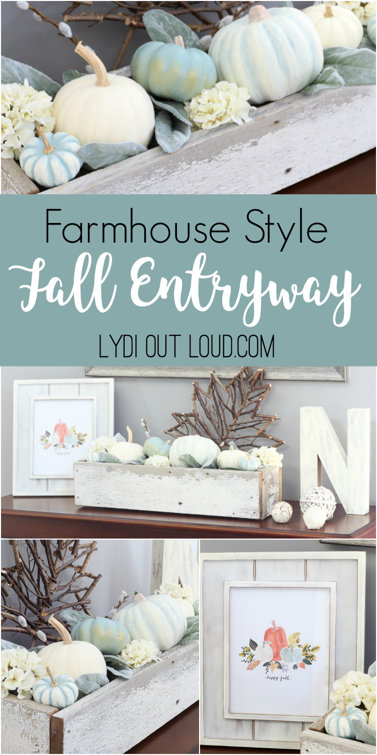Fall entryway with painted decorative pumpkins