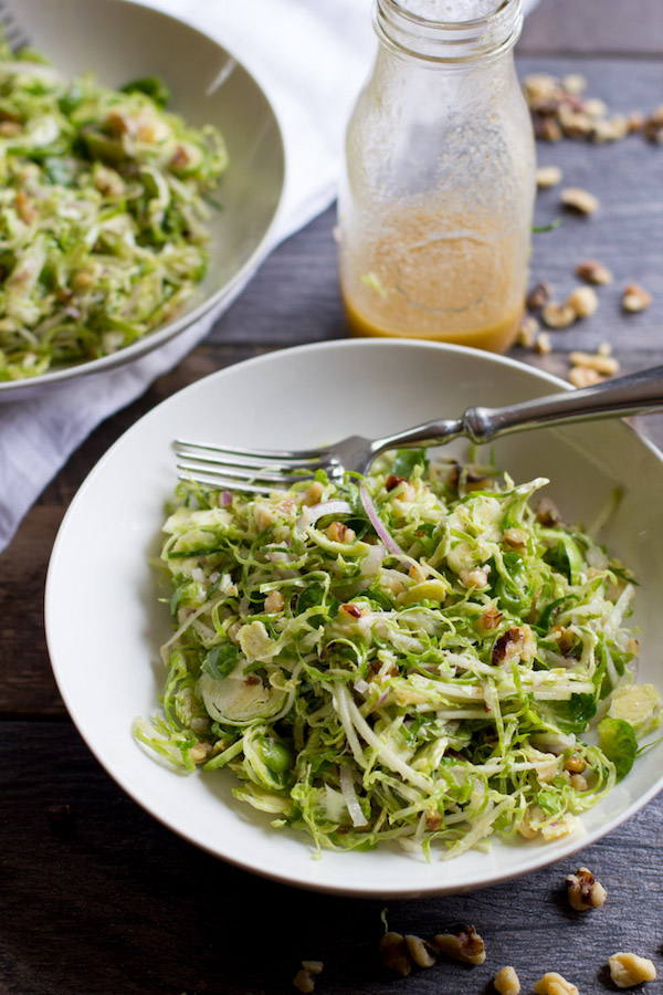 Shaved Brussels Sprouts Salad with Apples