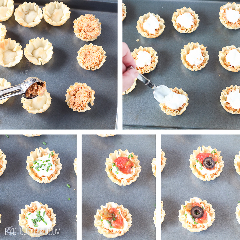 Easy steps for Chicken Taco Cups - perfect tailgating recipe!