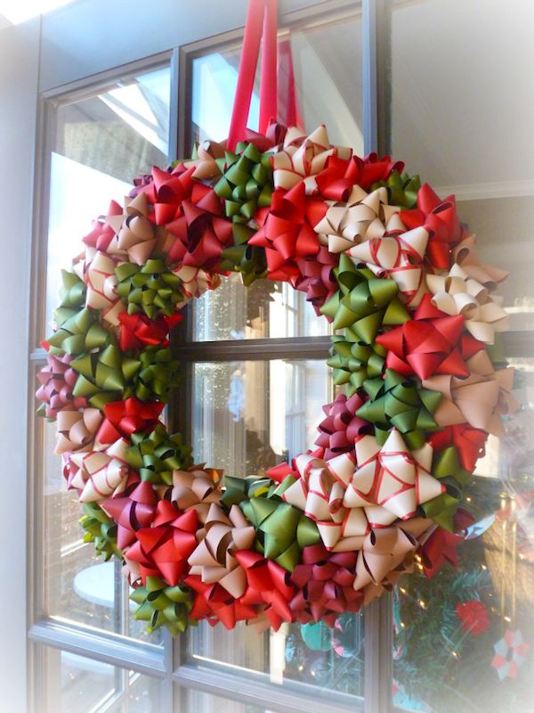 DIY Bow Wreath - what a cute idea and probably super cheap to make!