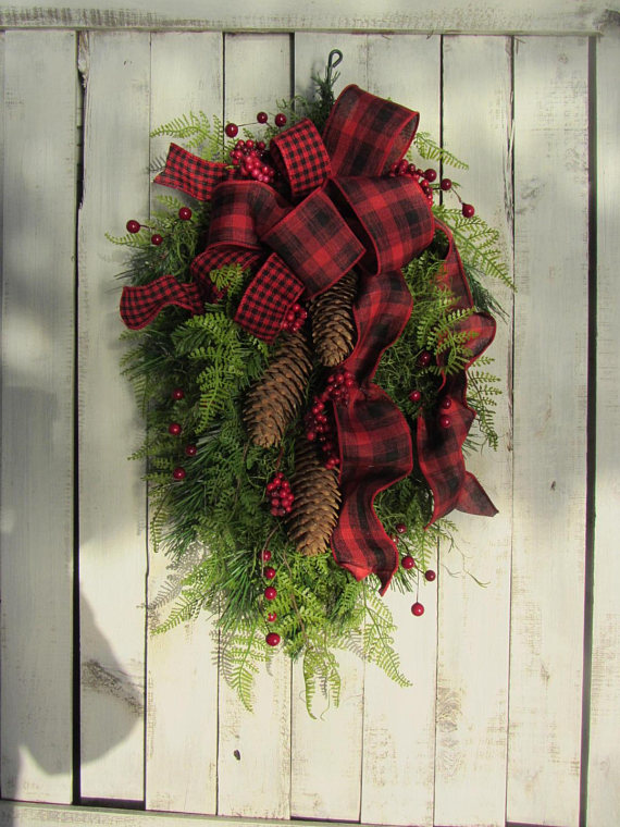 Plaid and Pine Christmas Door Swag