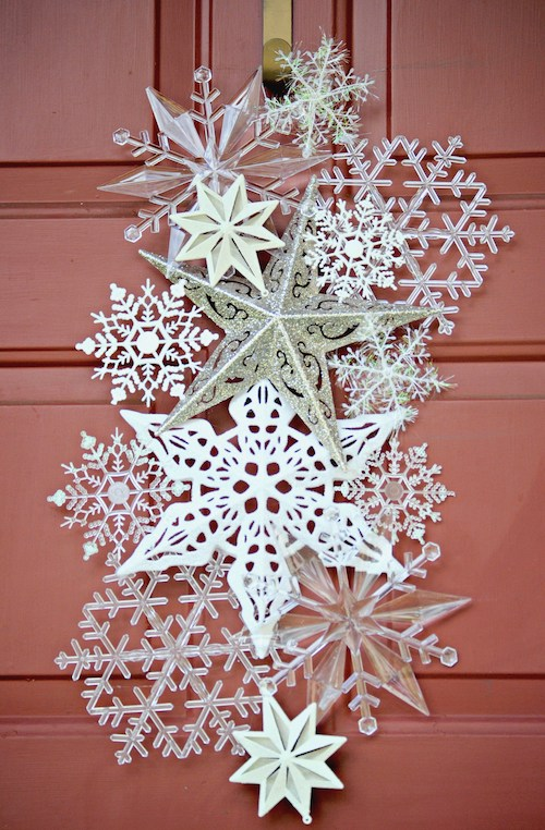 I can't believe this Snowflake Door Hanger is made from ALL dollar store ornaments!