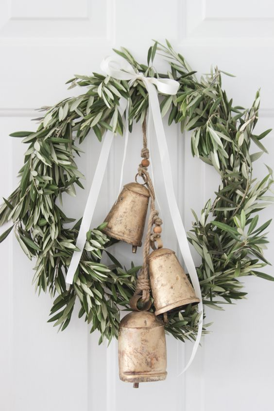Olive Branch and Bells Christmas Wreath