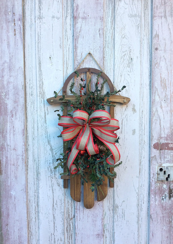 Sled Christmas Door Hanger