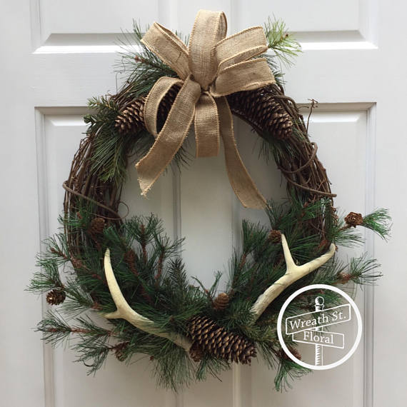 Antler and Pinecone Christmas Wreath