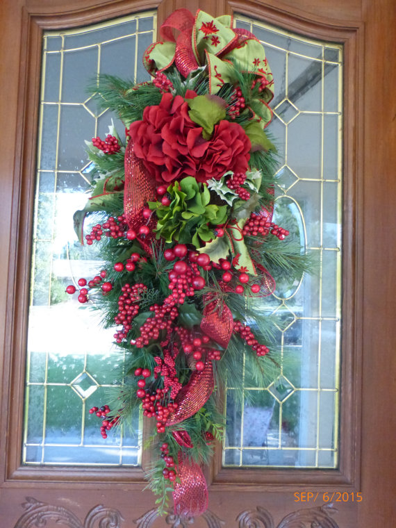 Berry and Evergreen Christmas Door Swag
