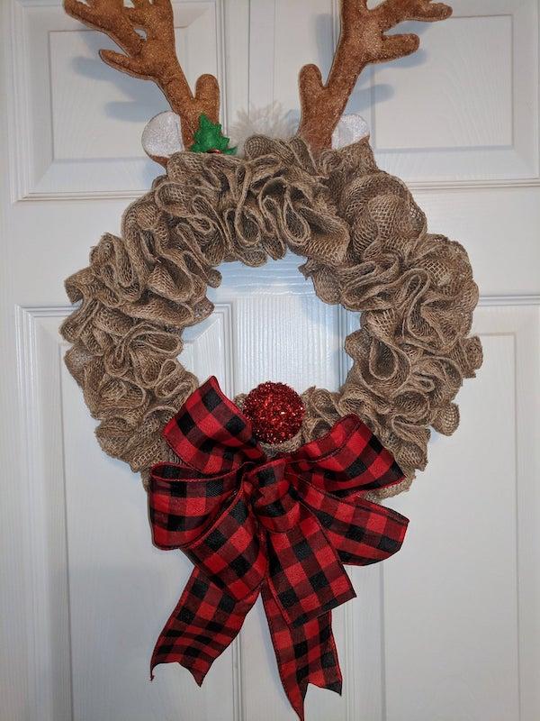 Burlap Rudolph Wreath