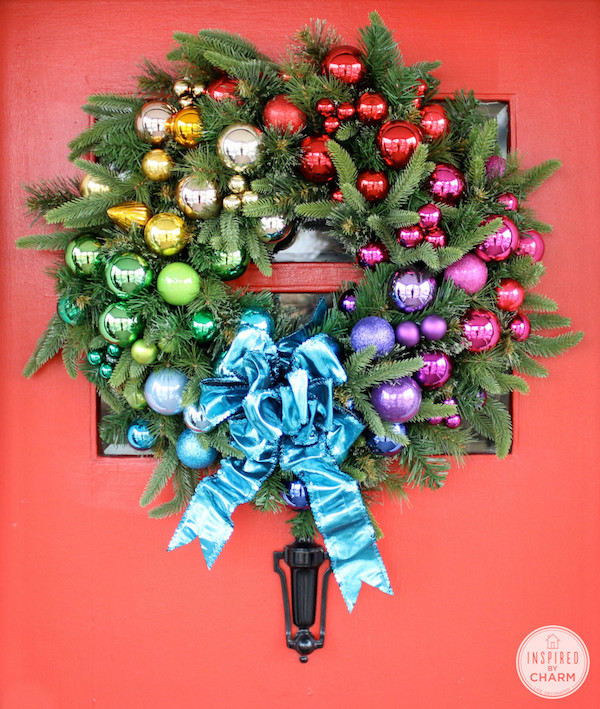This DIY Rainbow Ornament Wreath is just gorgeous! I love all of the colors!