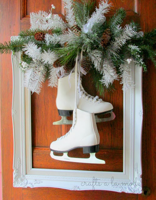 Framed Ice Skates Wreath - so clever!
