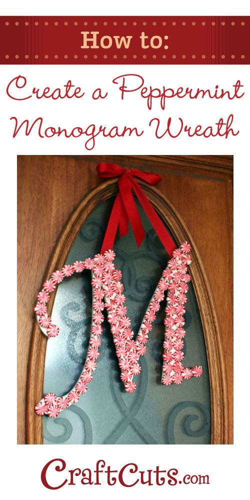 DIY Peppermint Monogram Wreath - I am soooo making this!