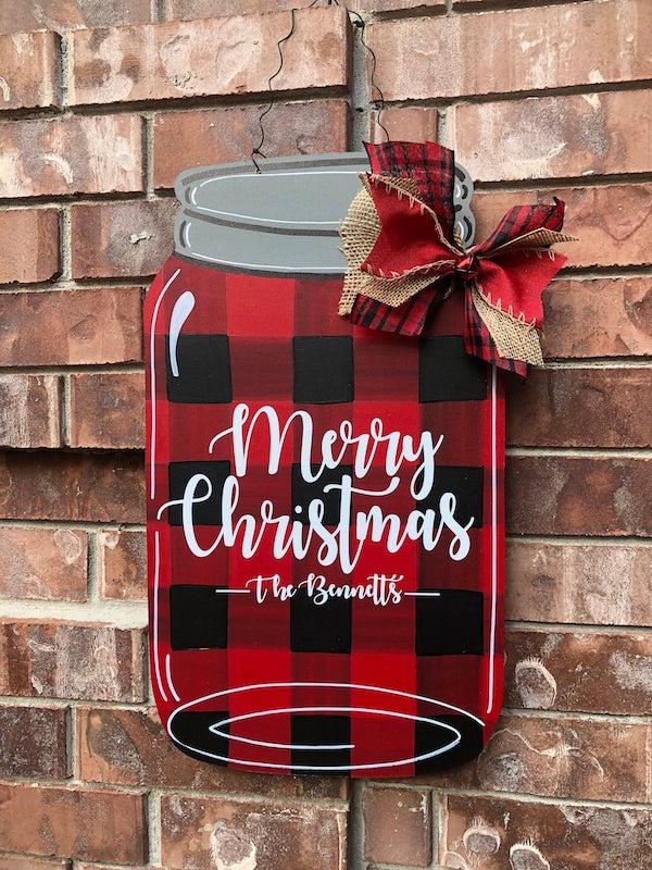 Personalized Mason Jar Christmas Door Hanger