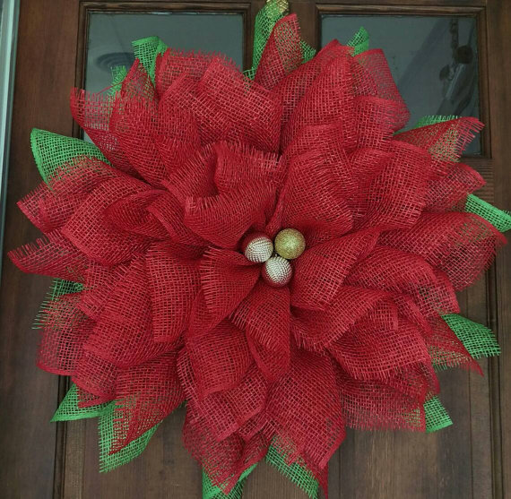 Burlap Poinsettia Christmas Wreath