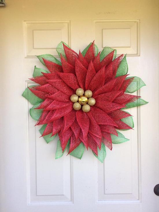 Poinsettia Christmas Wreath
