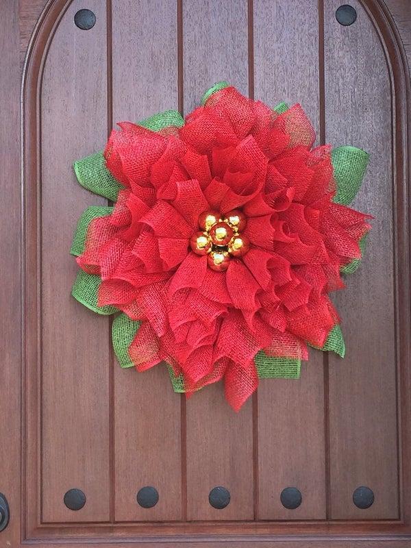 Mesh Pointsettia Christmas Wreath