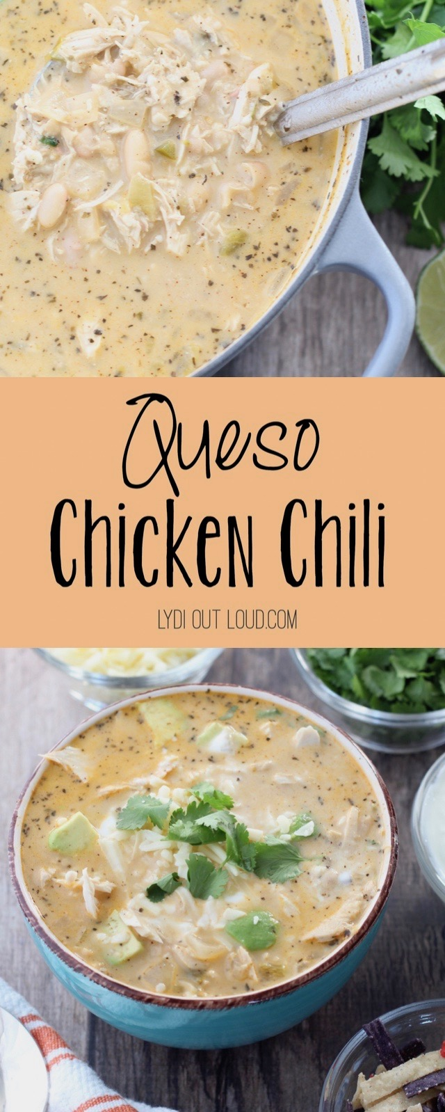 Delicious Queso White Bean Chicken Chili